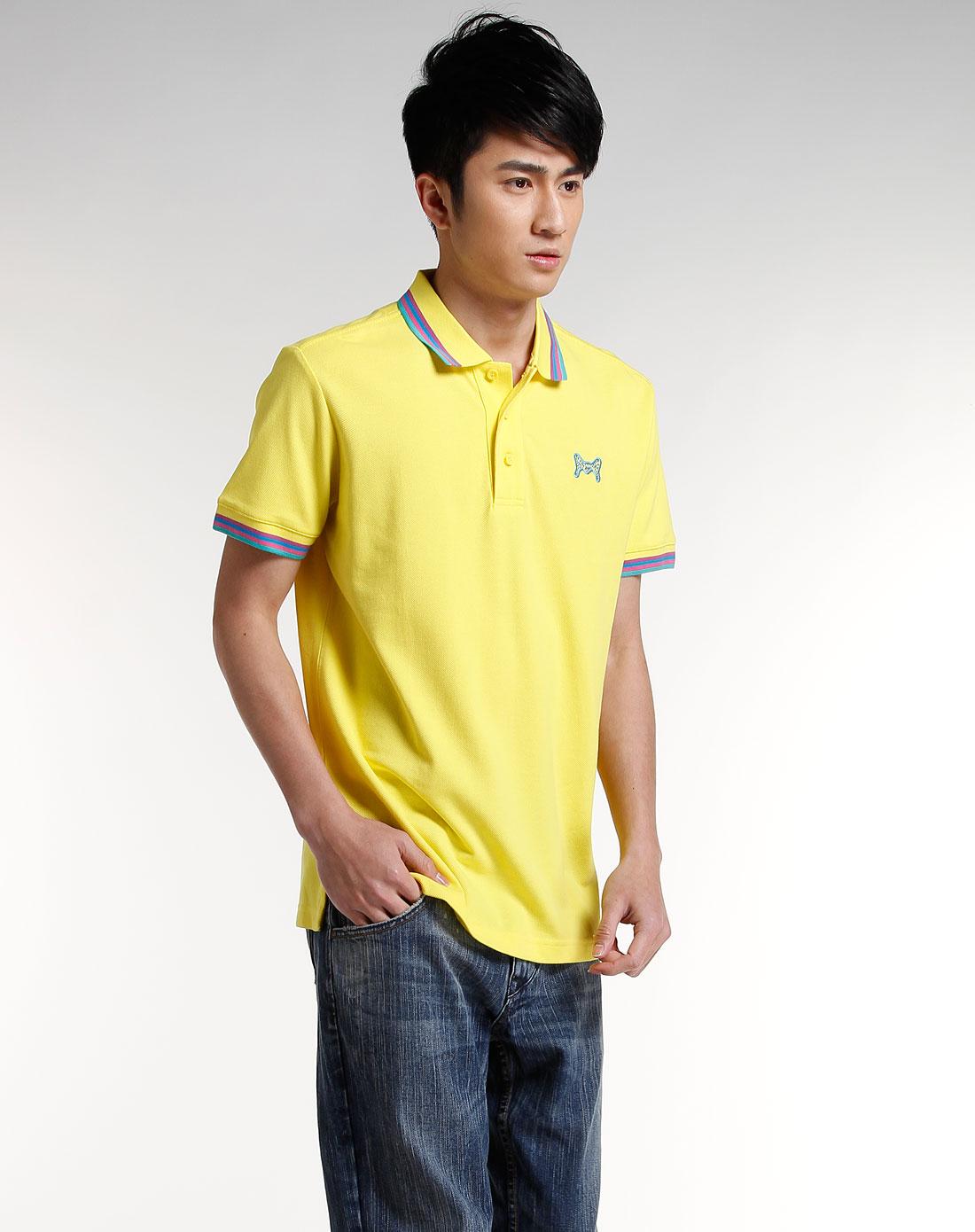 鲜黄/彩色边时尚短袖polo衫