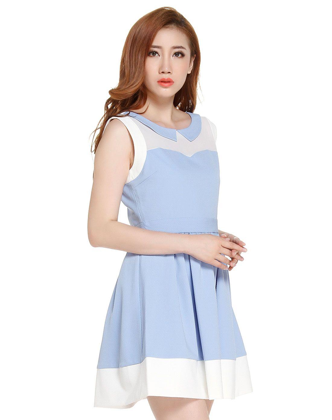 经典设计蓝白色无袖连衣裙