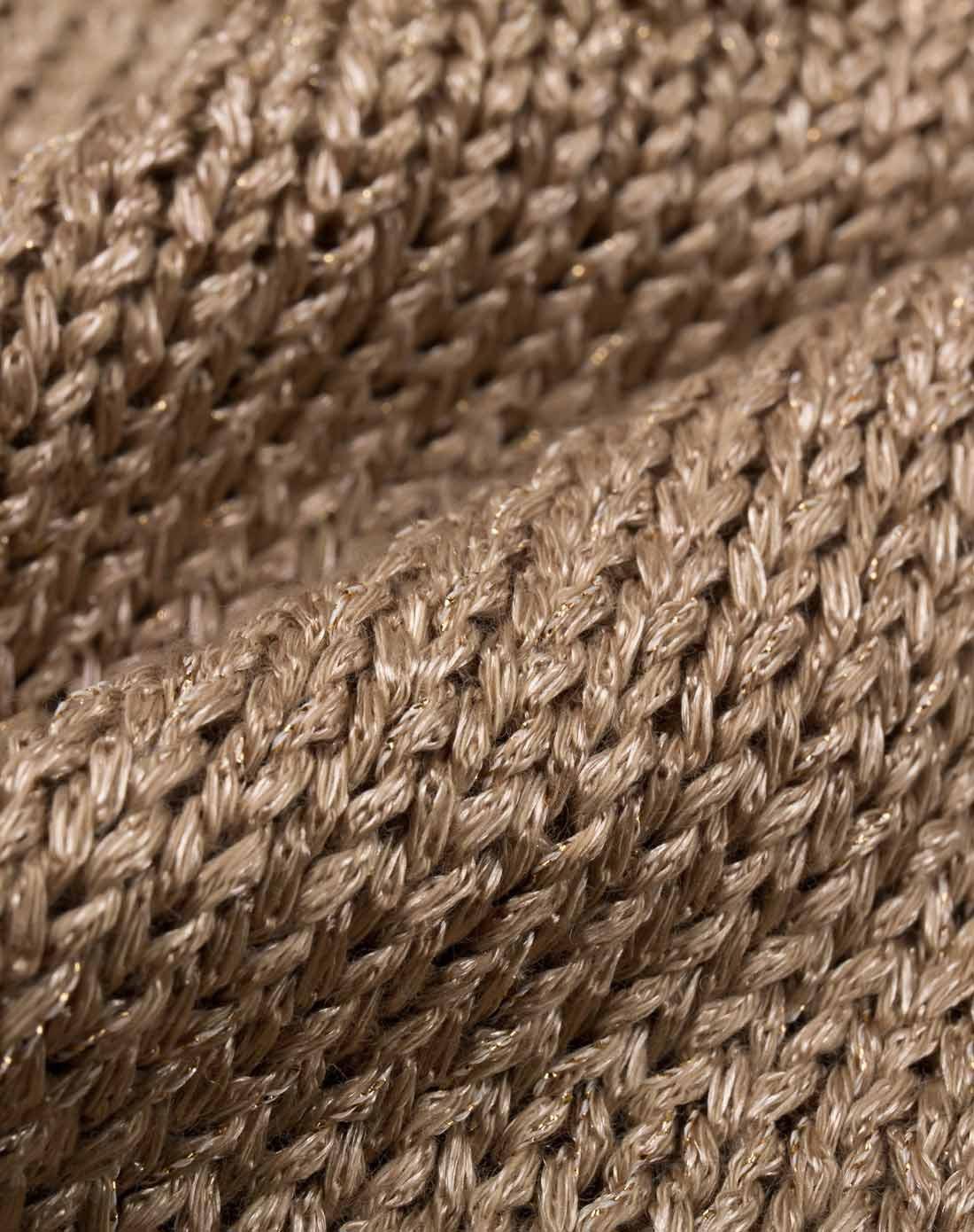 个性浅棕色拉丝破洞半袖毛衣