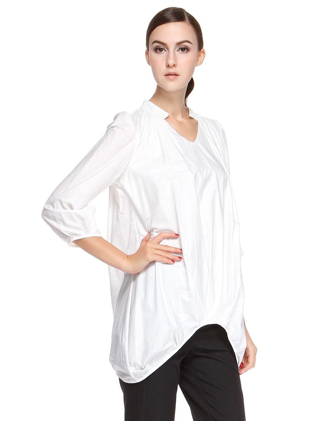 袖跺(h�(�_白色文艺简约八分袖长款上衣