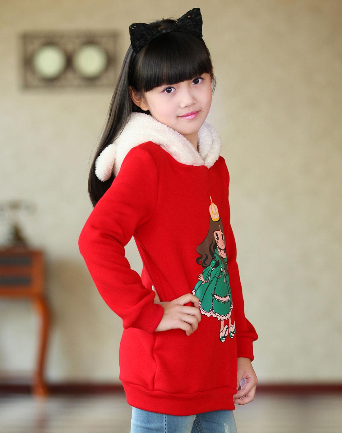 女童中国红卫衣