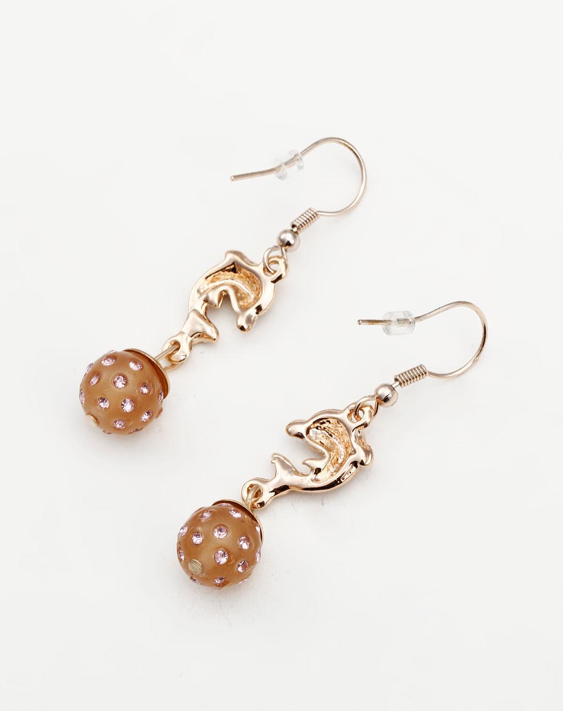金/浅粉色可爱小海豚耳环
