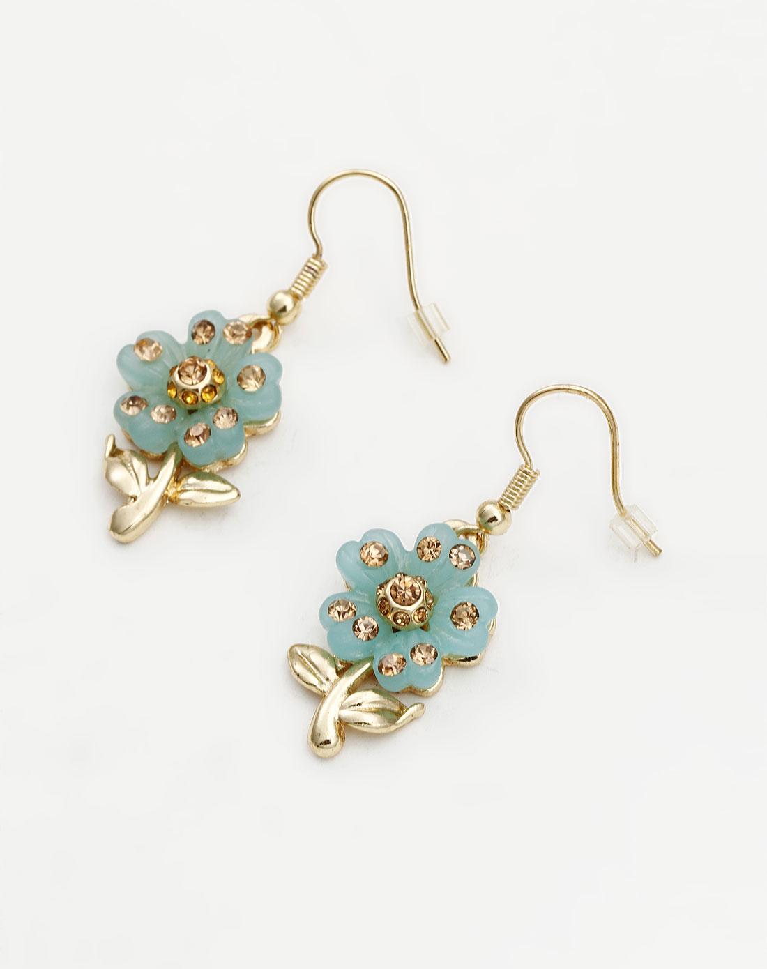 绿色可爱小花朵耳环