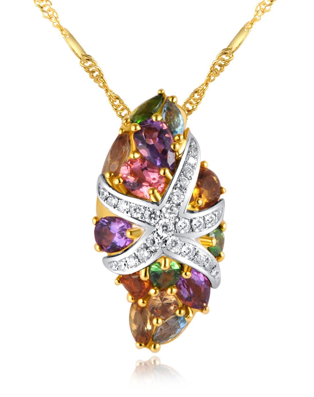 enzo珠宝专场-海洋奢华海星18k金群镶彩宝吊坠