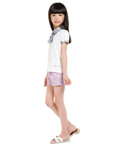 女童乖巧可爱格纹米白色短袖t恤