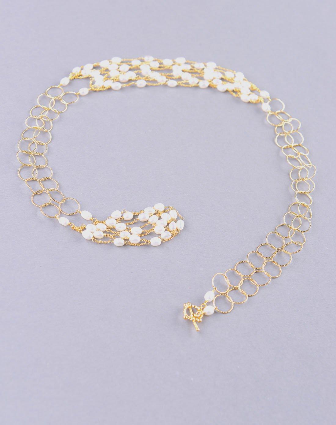珍珠编织多串项链