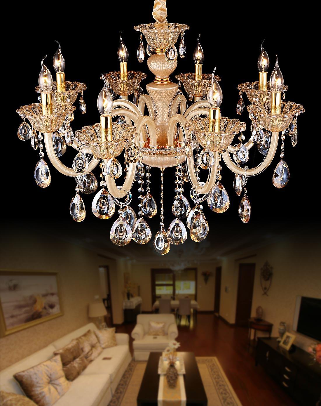 汉斯威诺灯饰专场欧式客厅卧室艺术水晶吊灯8头香槟