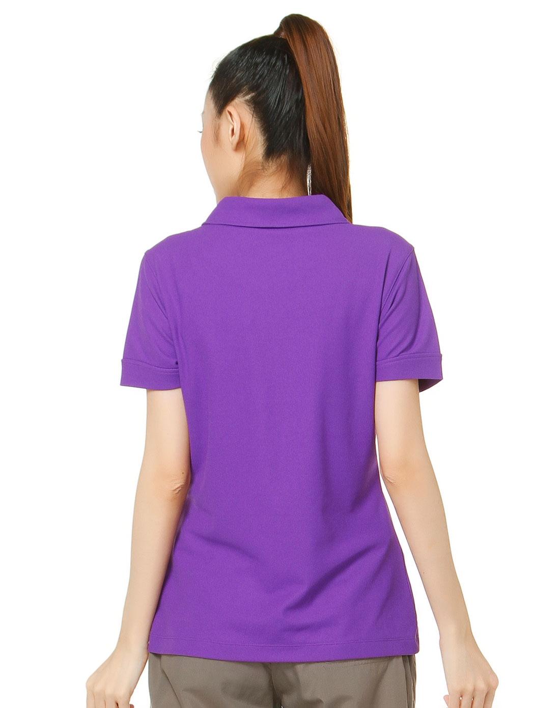 女款简约深紫色短袖polo衫