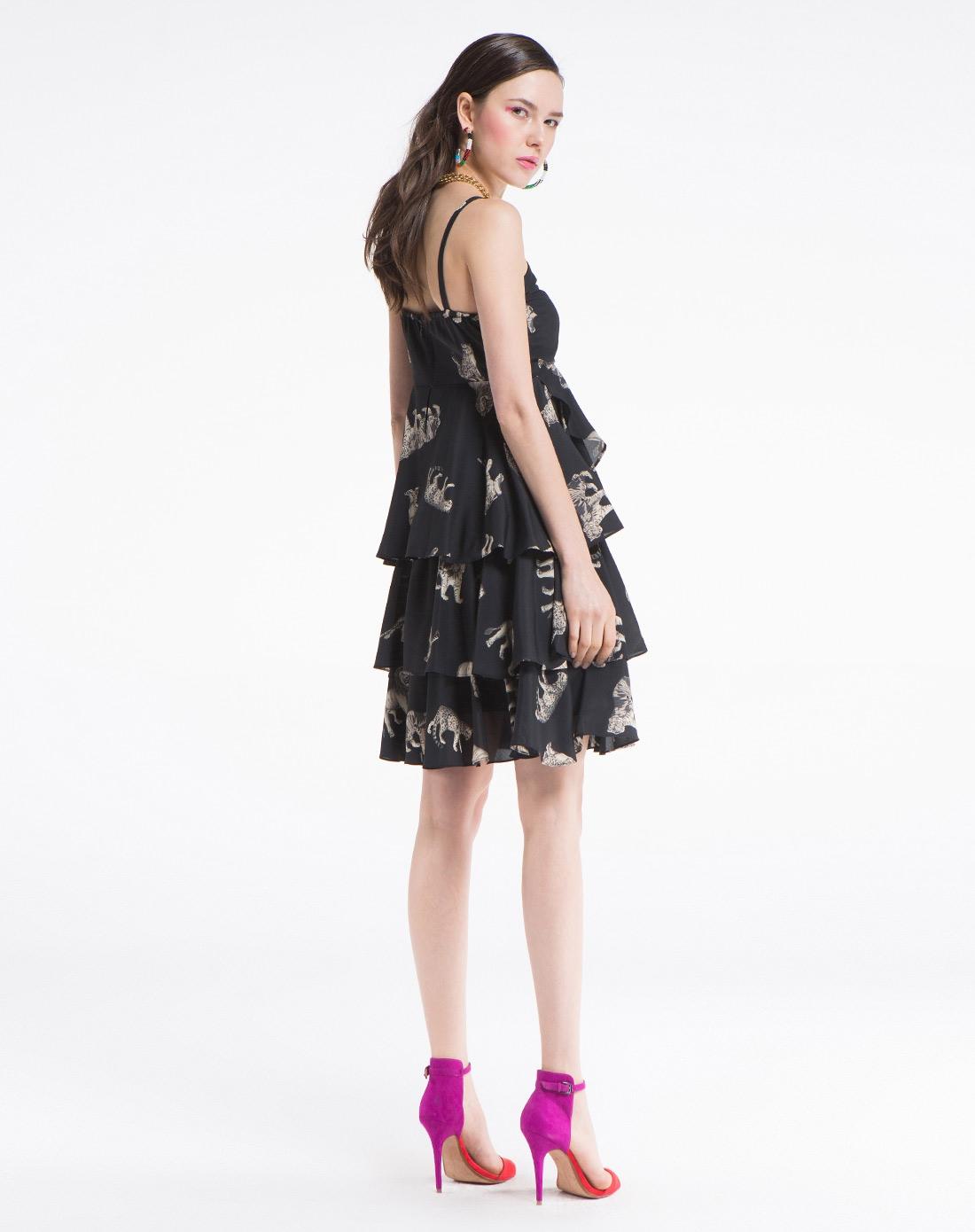 动物纹洛丽塔蛋糕型吊带连衣裙