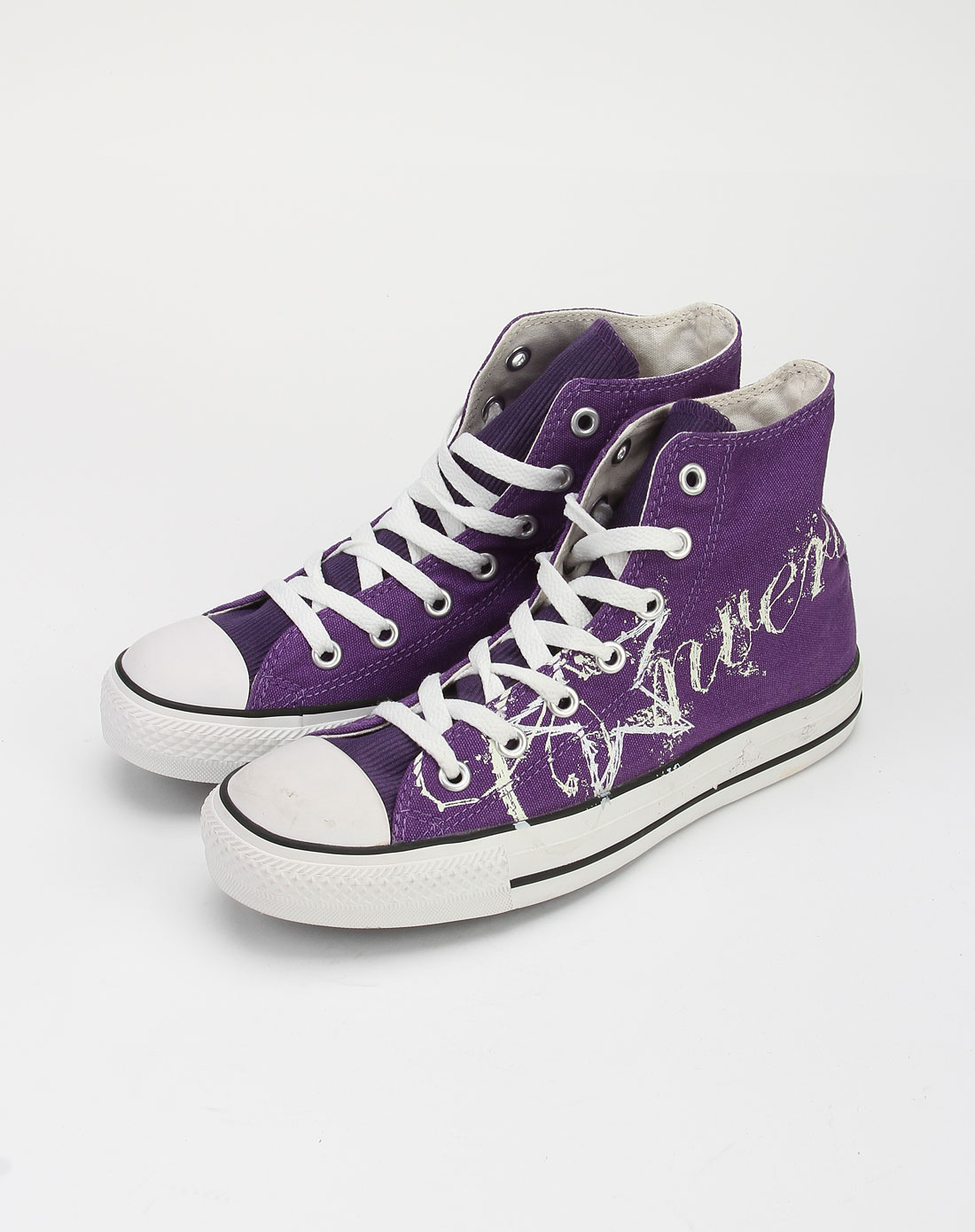 中性款紫色印花高帮帆布鞋