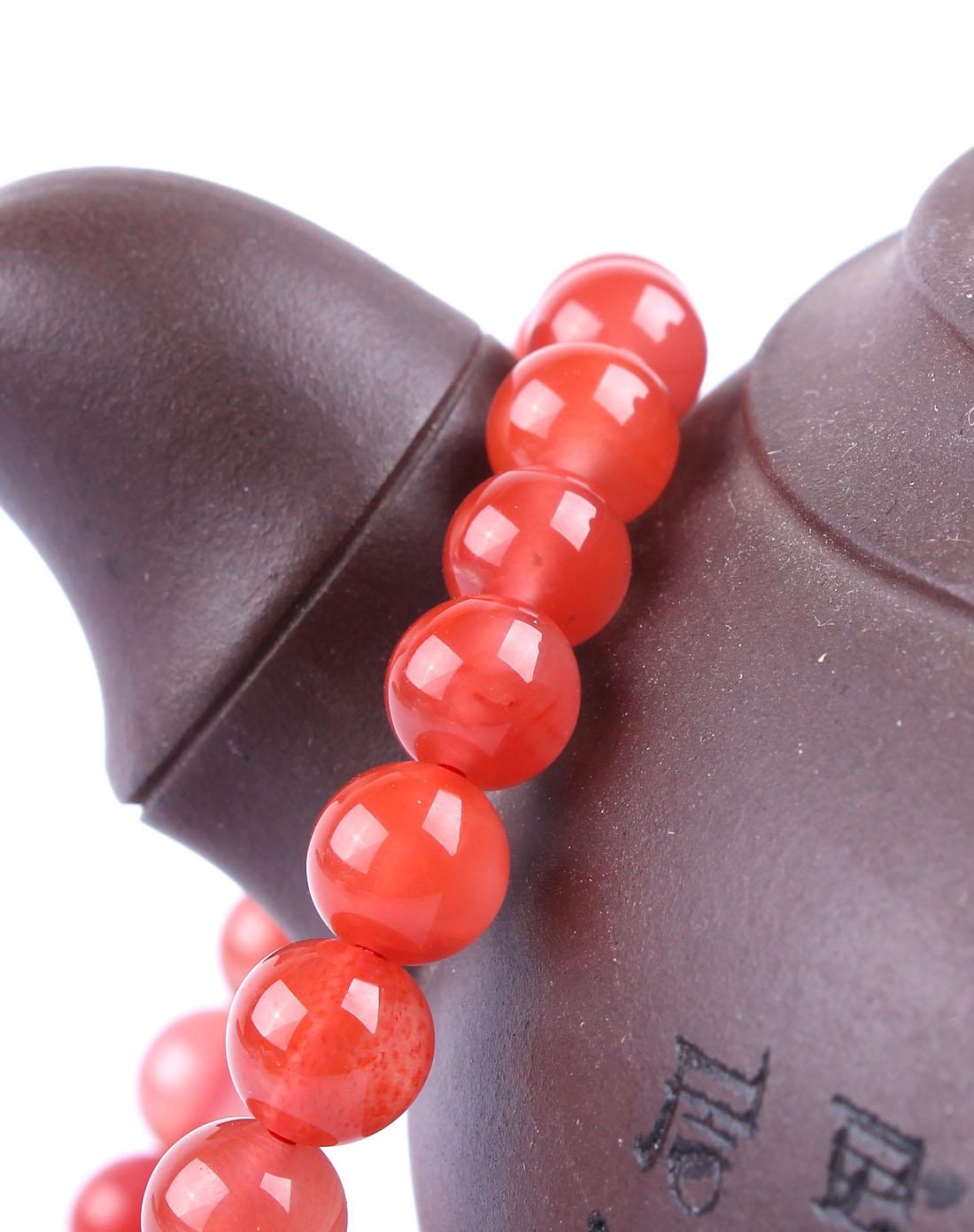 红色火焰 天然南红玛瑙圆珠手链 附证书
