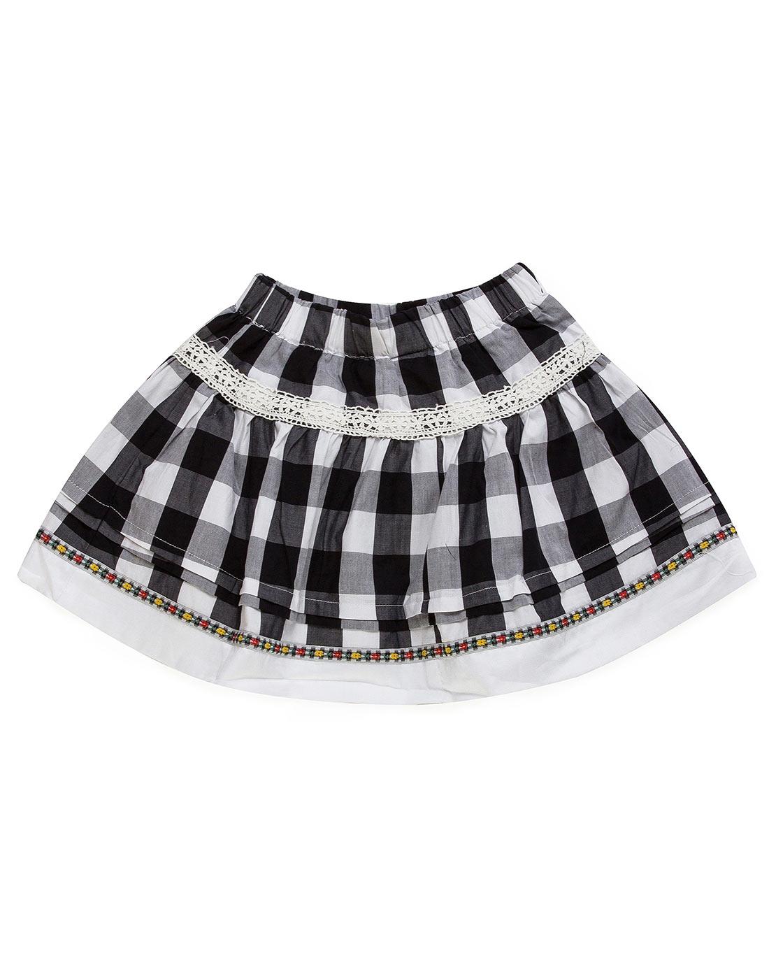 女童黑色/白色半截裙