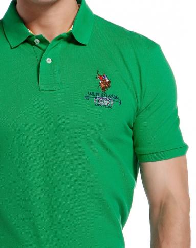 绿色简约商务短袖polo衫