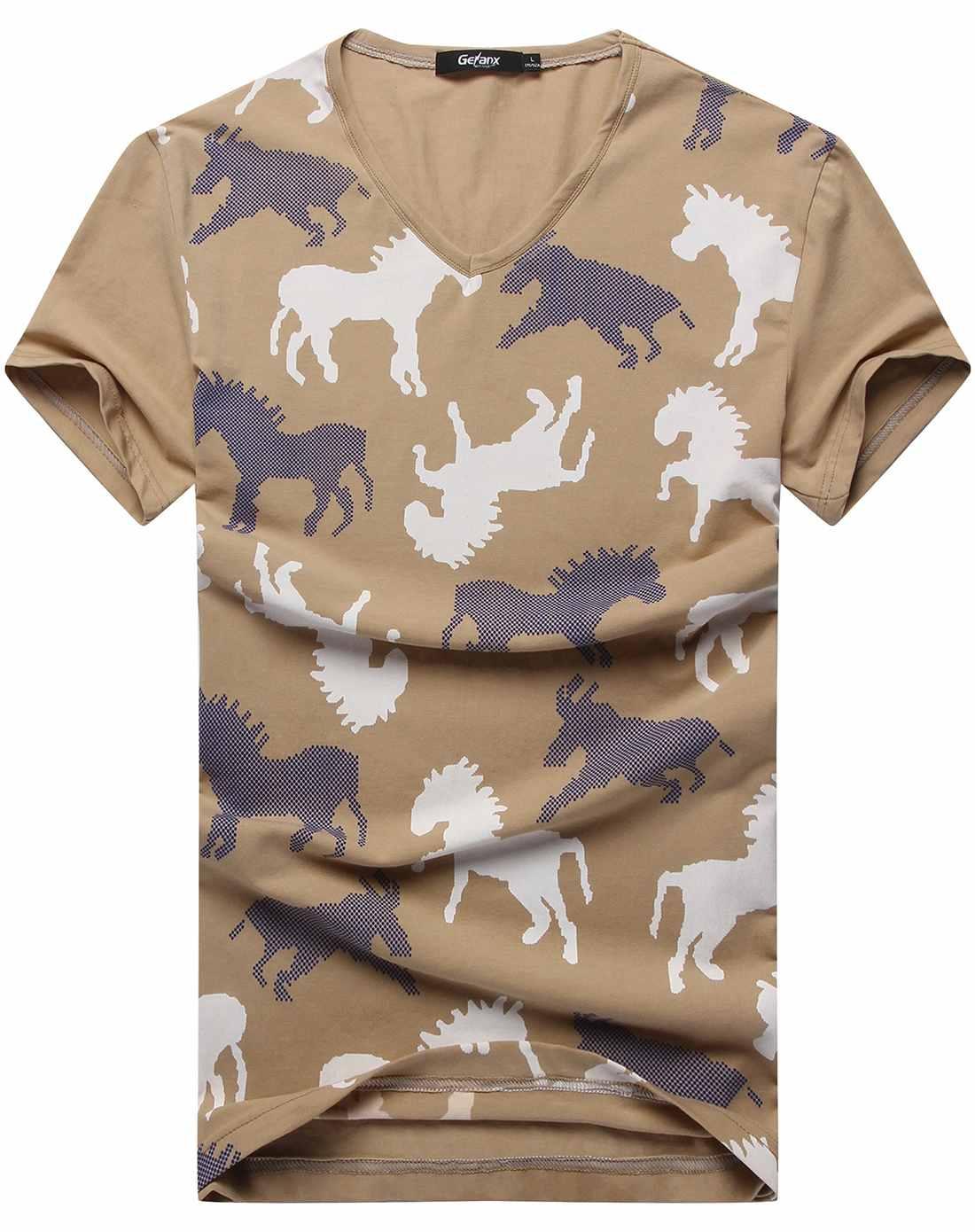 男士土黄色时尚型男动物花纹短袖t恤