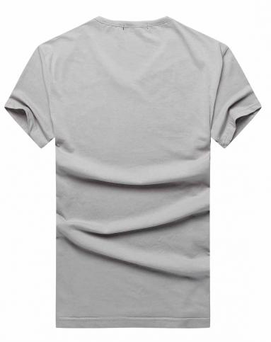 男士浅灰色时尚型男动物花纹短袖t恤
