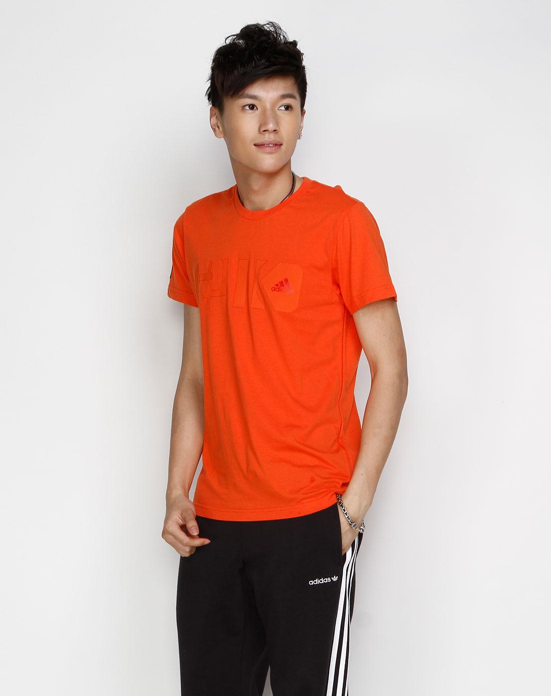 阿迪达斯adidas男装专场-sp 男款 橙色休闲短袖t恤