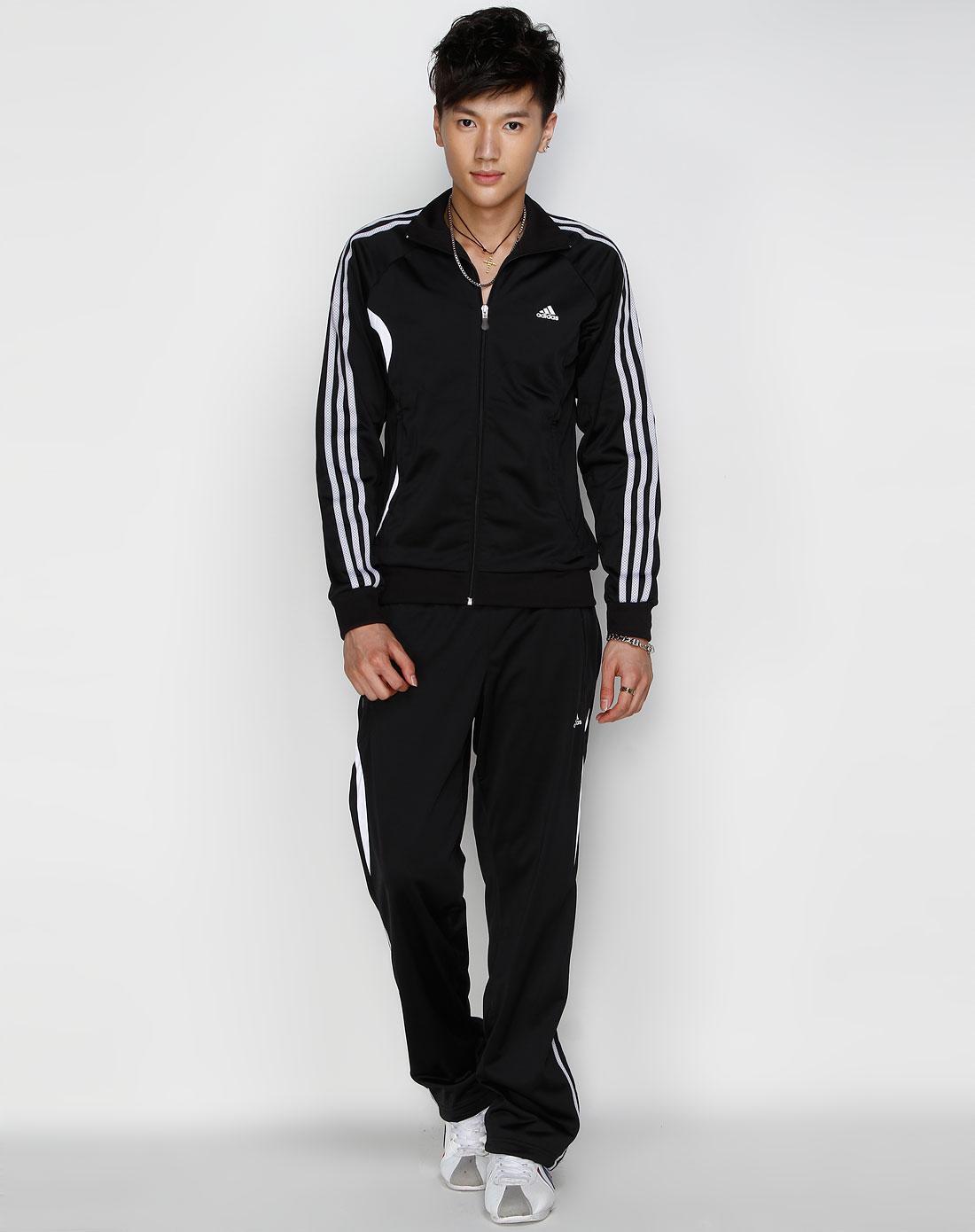 阿迪达斯adidas男装专场-sp 男款 黑/灰色休闲运动长袖套装