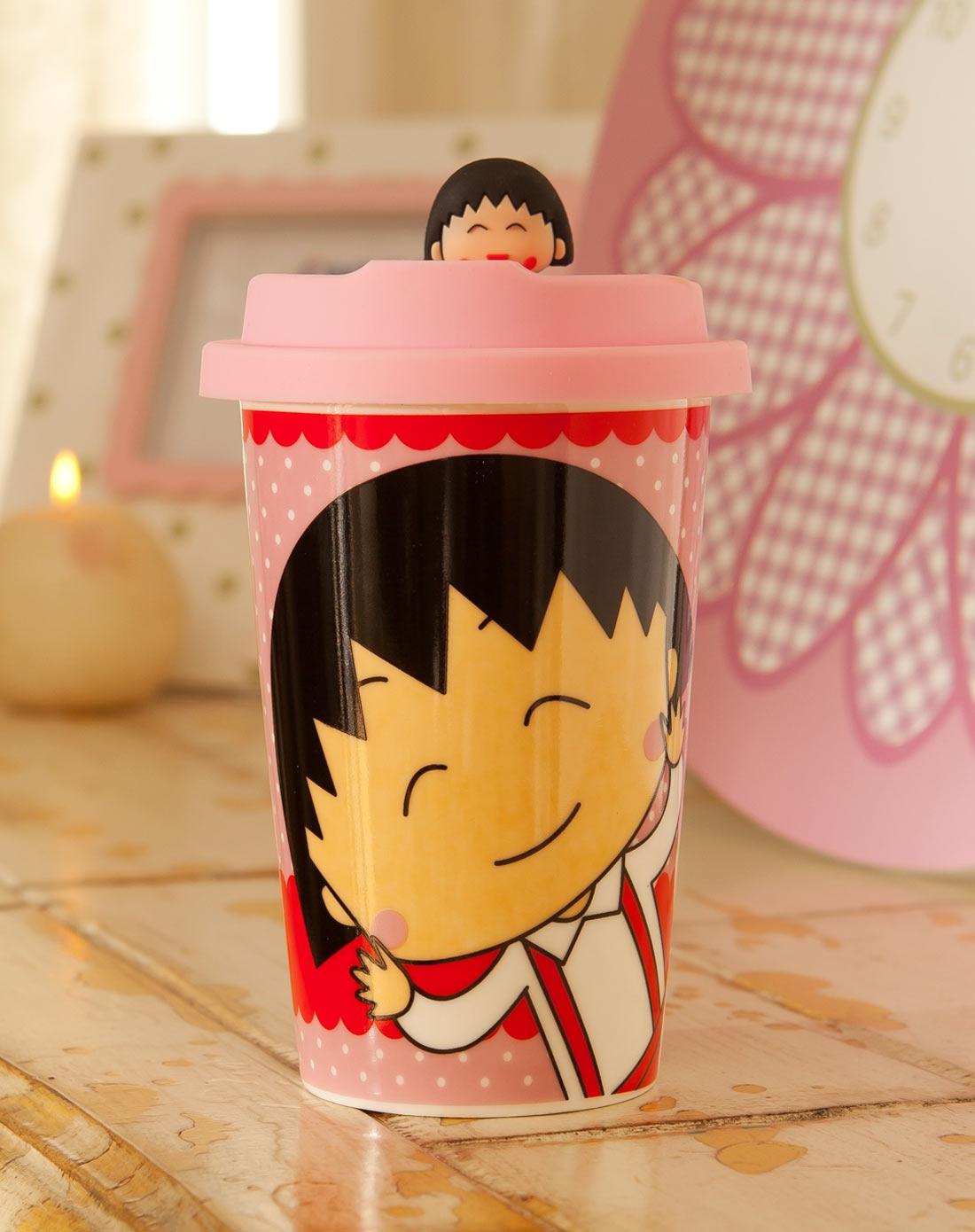 可爱卡通彩绘陶瓷马克杯-樱桃小丸子带盖半身b