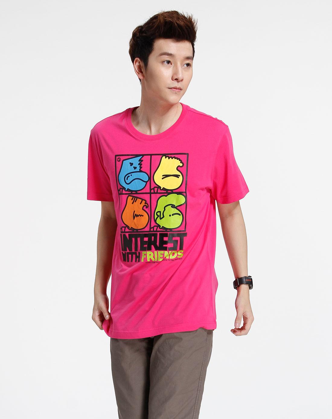 森马-男装玫红色印图短袖t恤002151005-760图片
