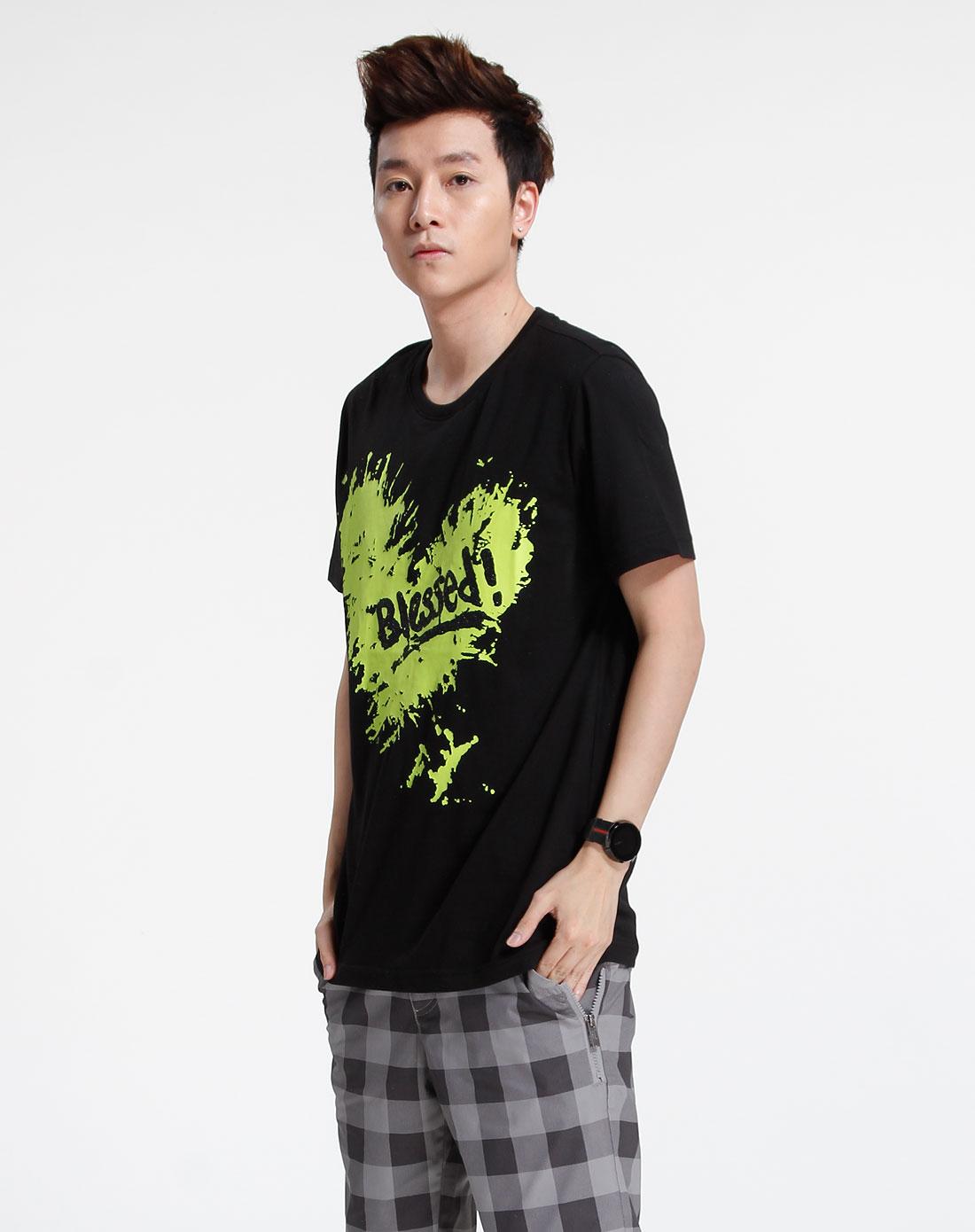 森马-男装黑色时尚短袖t恤002151016-900图片
