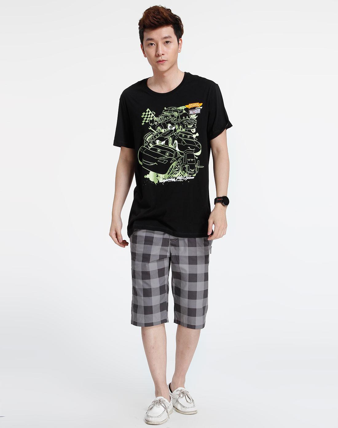 森马-男装黑色短袖时尚t恤002151039-900图片
