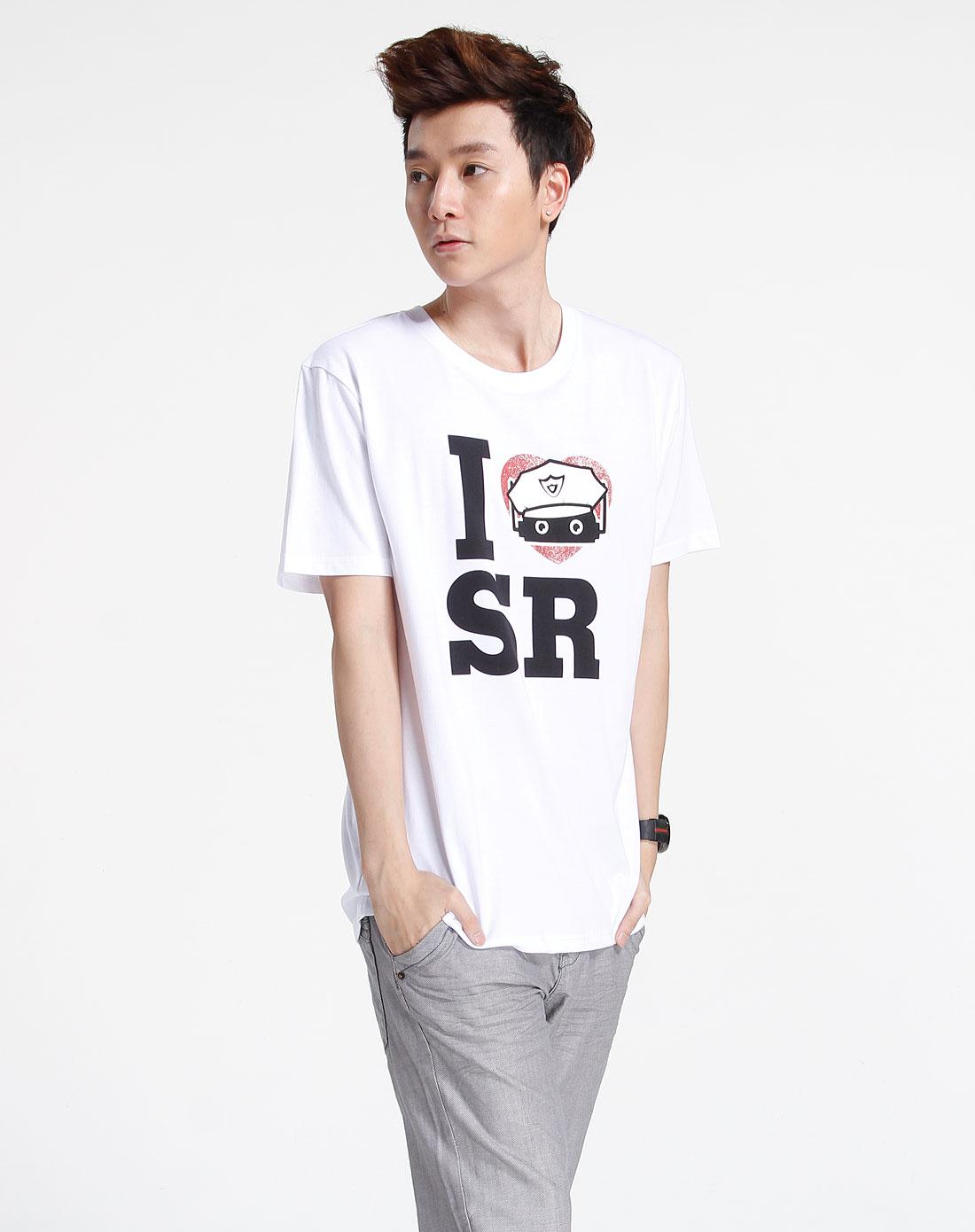 森马-男装白色印图短袖休闲t恤002151058-100图片