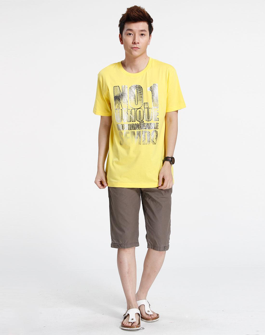 森马-男装-黄色印字短袖t恤图片