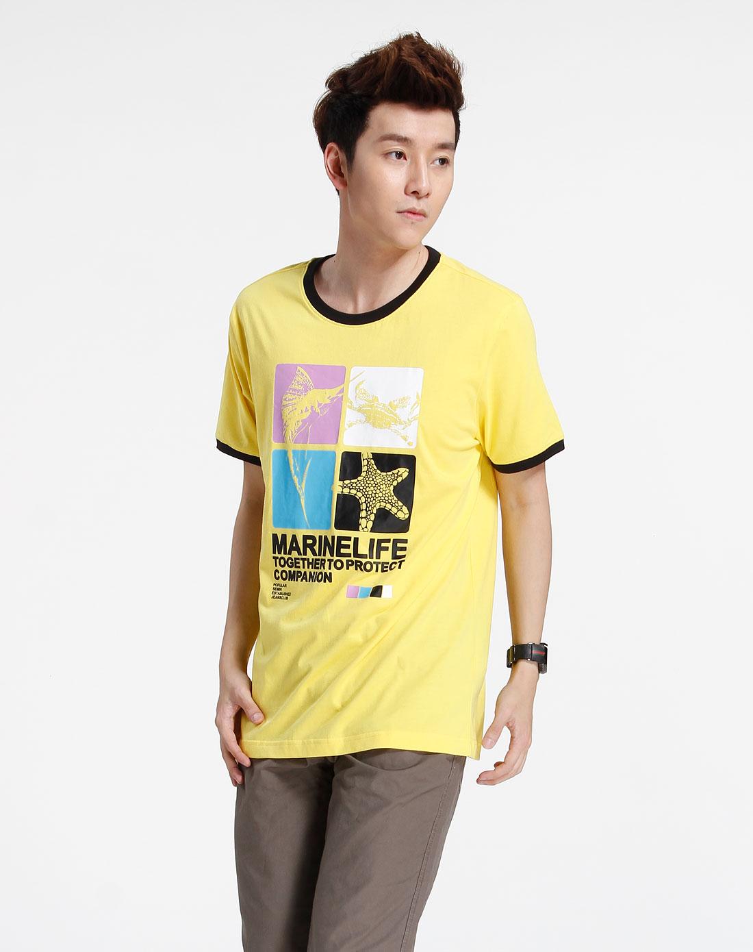 森马-男装黄色时尚印图短袖t恤002151137-351图片