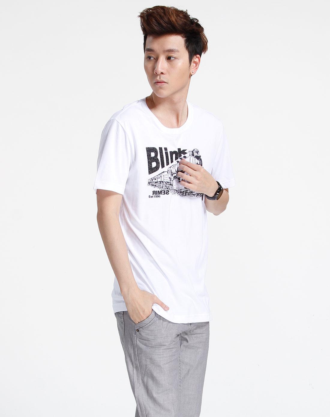 森马-男装白色烫钻印图短袖t恤002151534-100图片