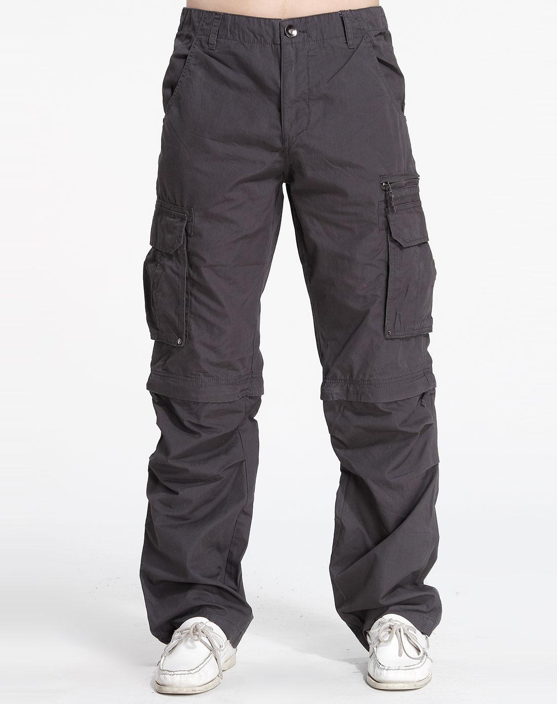 森马-男装深灰色双侧袋休闲长裤041141010-200图片