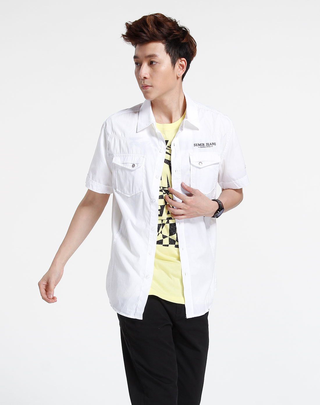 森马-男装白色休闲短袖衬衫082151012-100_唯品会图片