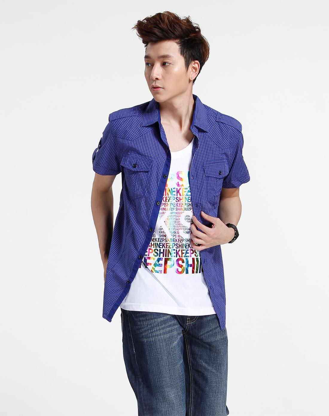 森马-男装-深蓝色格子短袖衬衫图片