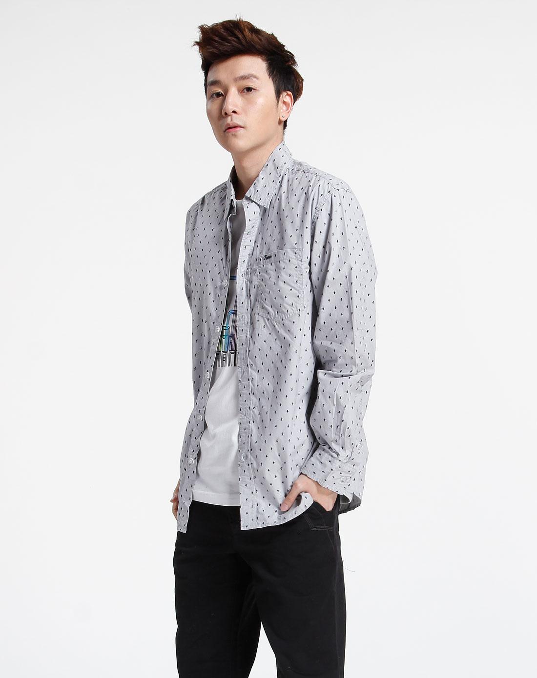 森马-男装-灰色时尚长袖衬衫图片
