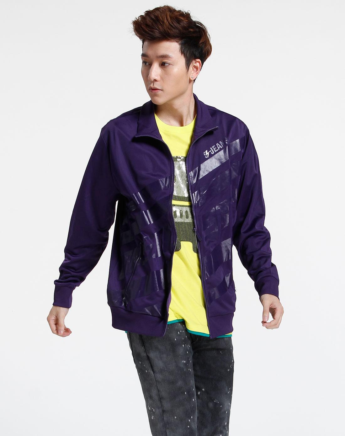 森马男装专场-紫色长袖时尚外套图片
