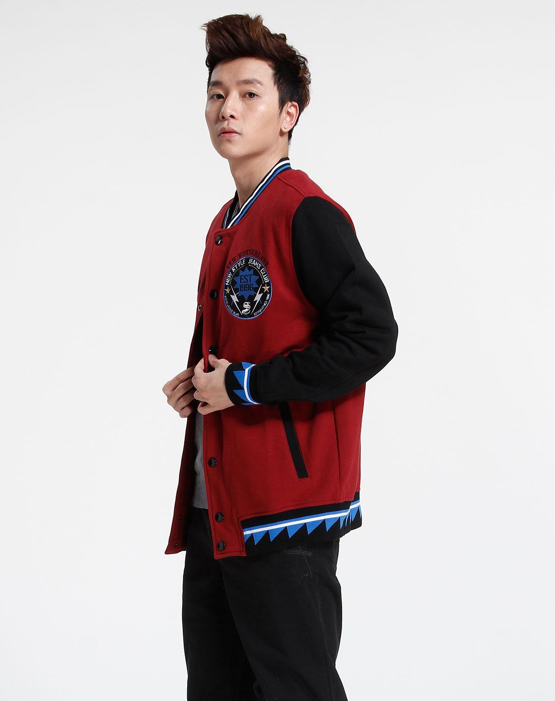 森马-男装-暗红色长袖外套图片