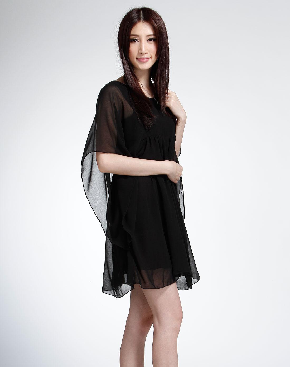 袖时尚_黑色圆领蝙蝠袖时尚连衣裙