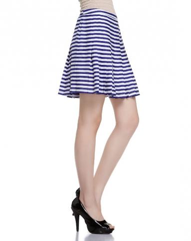 蓝白色条纹百褶海军风短裙