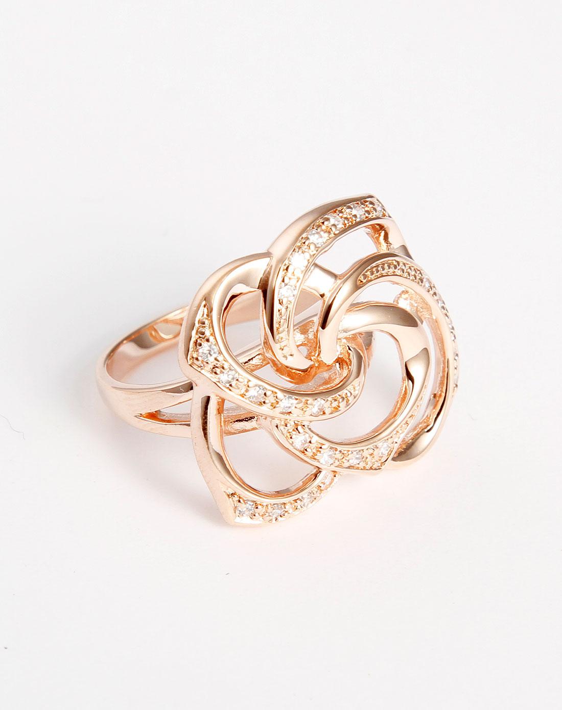 玫瑰金色花型戒指