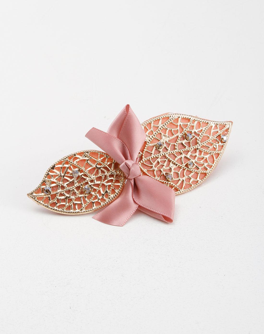 粉色/金色树叶蝴蝶结发饰
