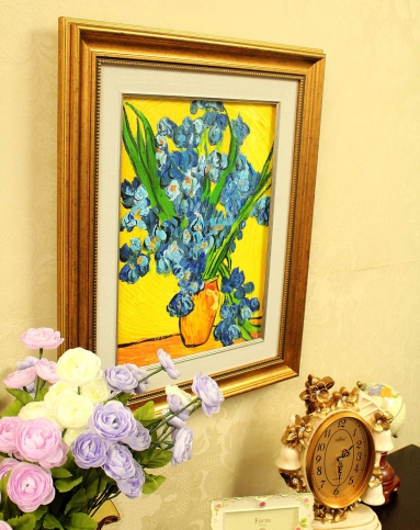纯手绘油画-梵高花瓶里的鸢尾花yh-1005