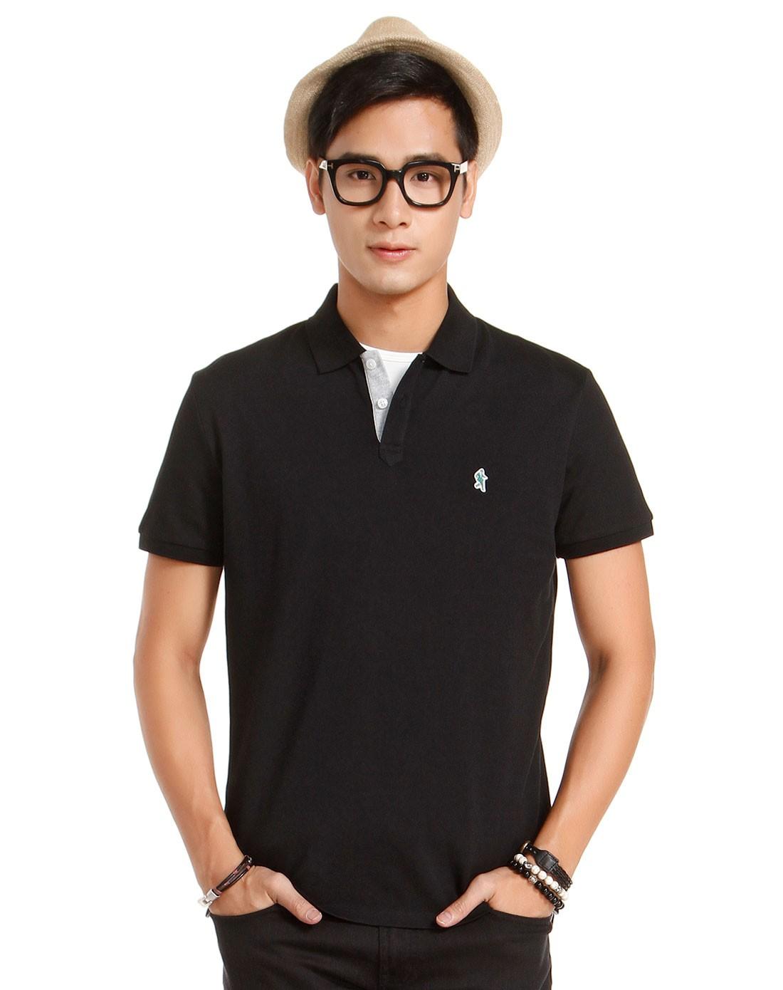 黑色纯色简约短袖polo衫