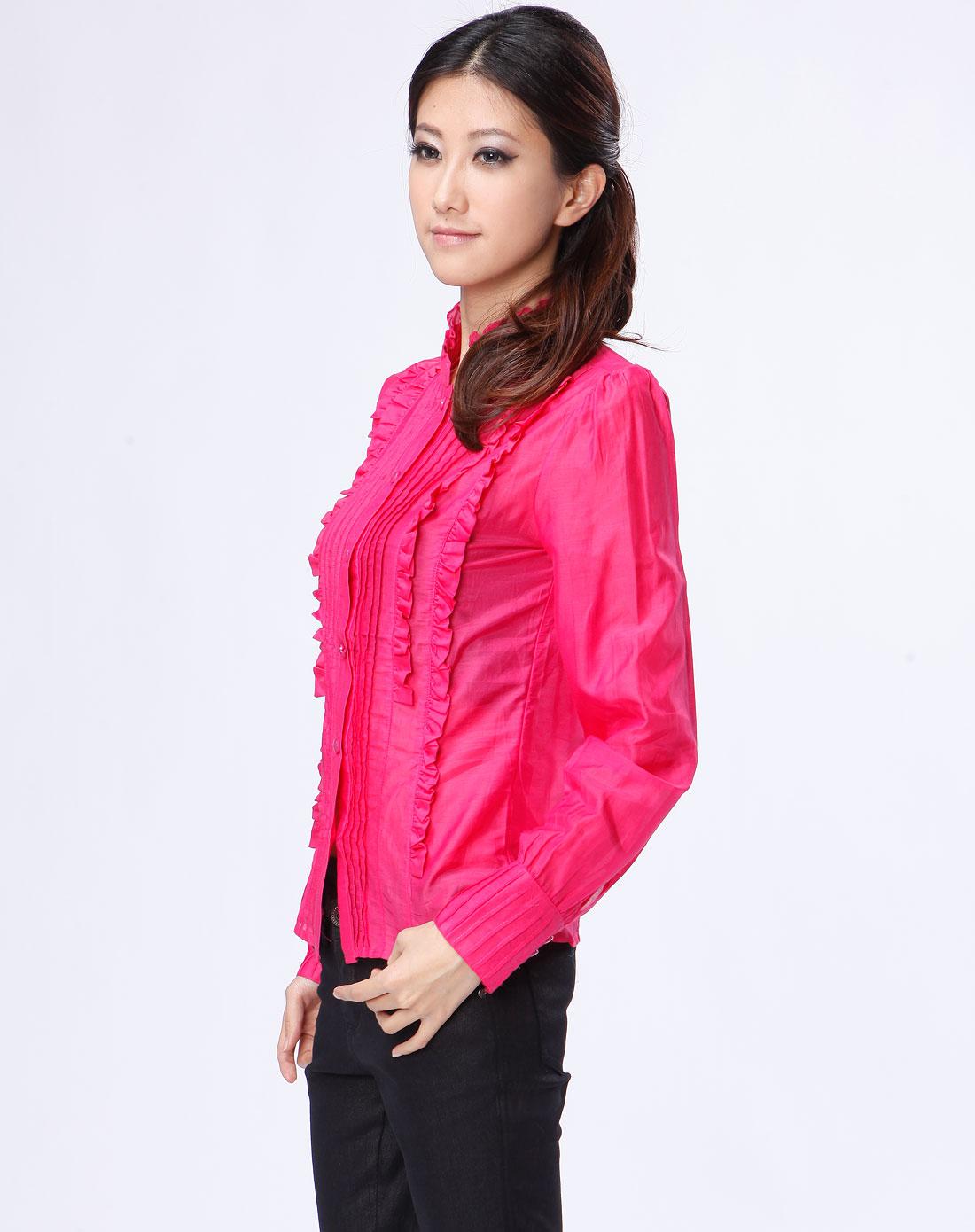 德·玛纳 玫红色花边长袖衬衫