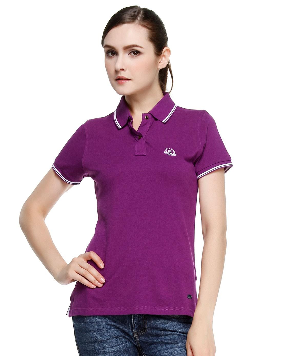 女款简约活力深紫色短袖polo衫