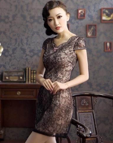夏媚 蕾丝旗袍连衣裙复古优雅旗袍裙