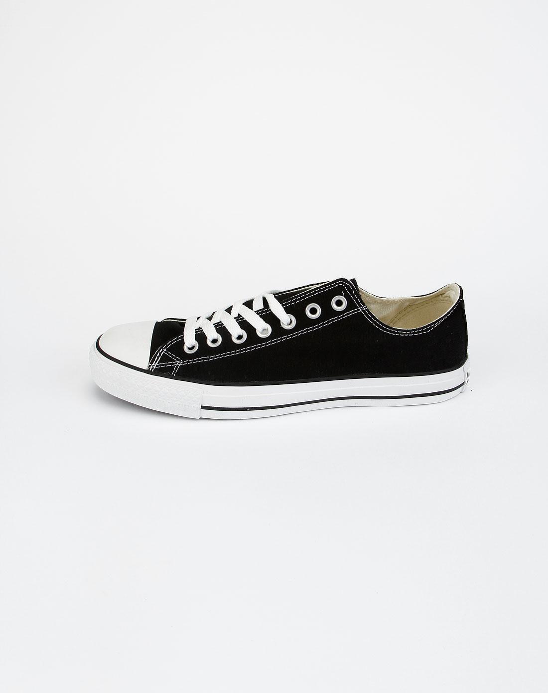 运动品牌匡威 中性黑色经典低帮布鞋101001