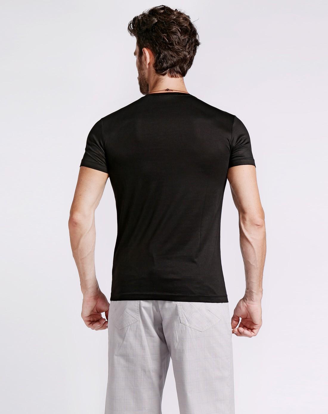 街头人物印花黑色短袖t恤