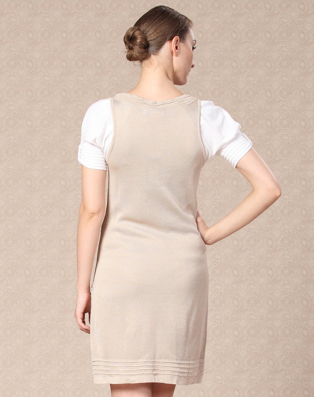无袖跺(h��ފ9_luxman 时尚高端卡其色无袖连衣裙
