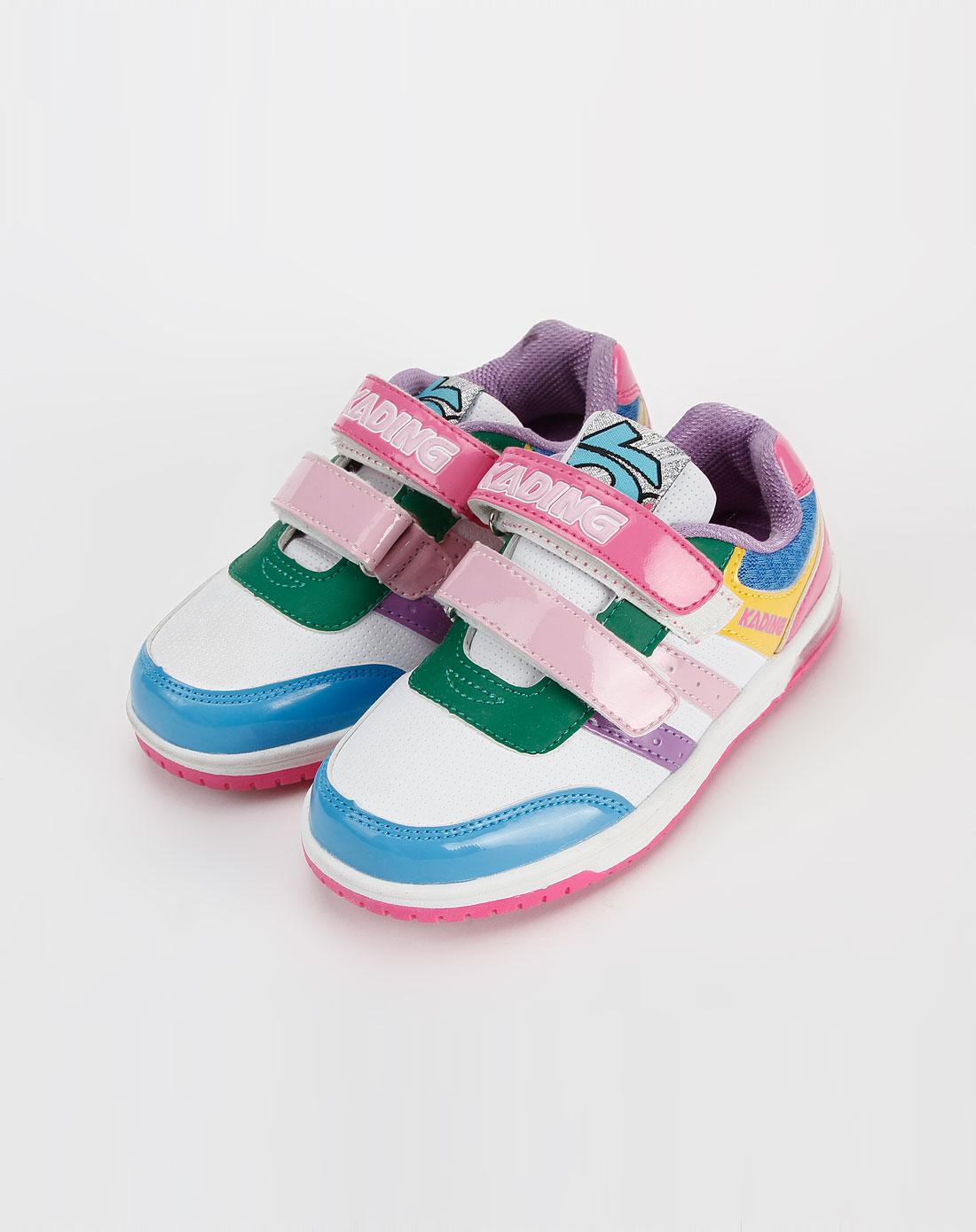 卡丁童鞋-女中童彩色闪灯运动鞋