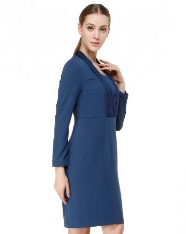 深灰蓝色素雅端庄长袖连衣裙