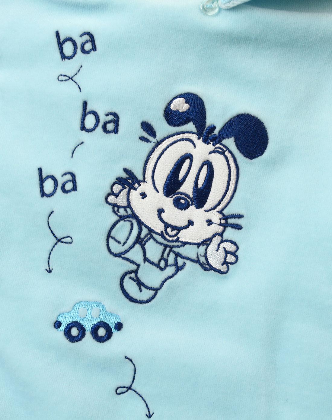 中性浅蓝色儿童卡通可爱连衣裤